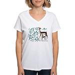Deer in Vineyard Batik Women's V-Neck T-Shirt