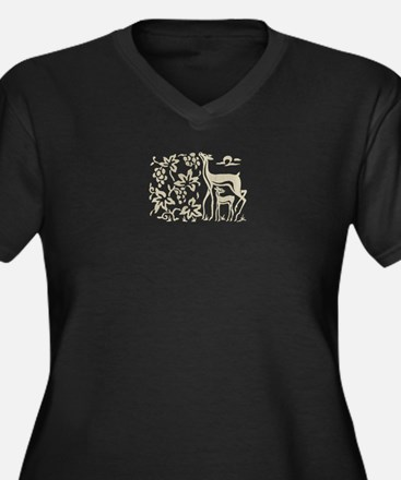 Deer in Vine Women's Plus Size V-Neck Dark T-Shirt