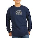Deer in Vineyard Batik Long Sleeve Dark T-Shirt