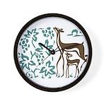 Deer in Vineyard Batik Wall Clock