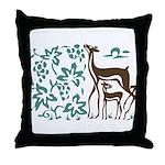 Deer in Vineyard Batik Throw Pillow
