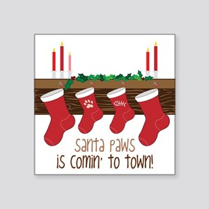 "Santa Paws Square Sticker 3"" x 3"""