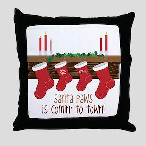Santa Paws Throw Pillow