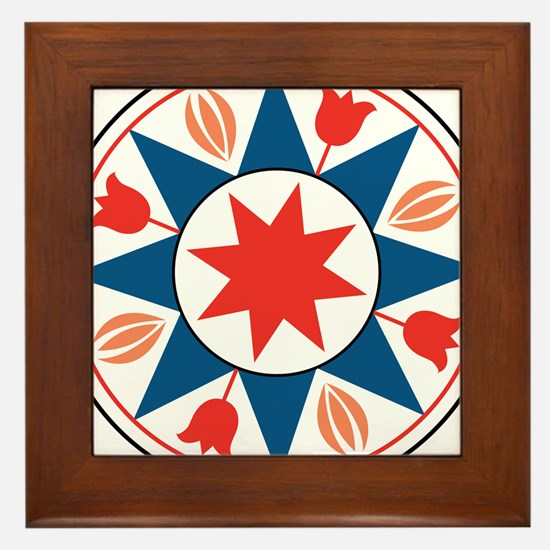 Eight Pointed Star Framed Tile