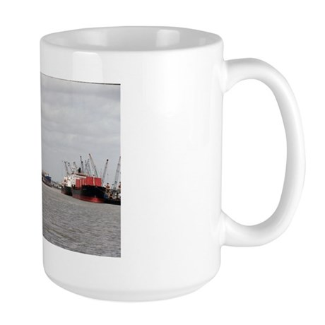 Large Mug With Towboat In Busy Port of Houston