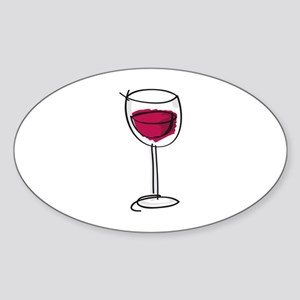 Glass Of Wine Sticker (Oval)