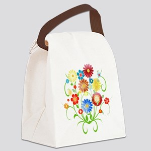 Floral bright pattern Canvas Lunch Bag