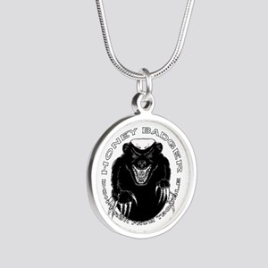 Honey badger Silver Round Necklace