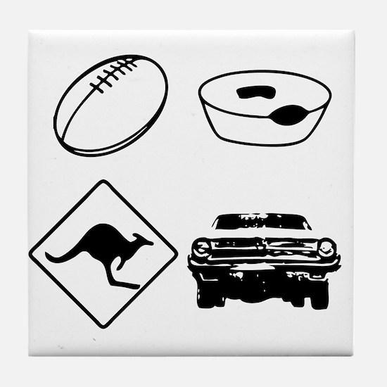 Football, Meat Pies, Kangaroo Tile Coaster