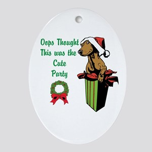 Oops Cute Party Ornament (Oval)