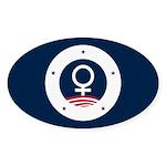 Female Symbol American RWB Sticker (Oval)