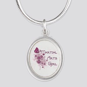 Martial Arts Girl Butterfly Silver Oval Necklace