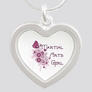 Martial Arts Girl Butterfly Silver Heart Necklace