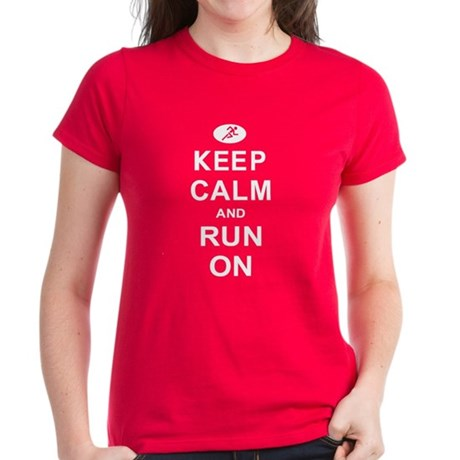 Keep Calm and Run On Women's Dark T-Shirt