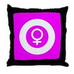 Female Symbol Pink Throw Pillow