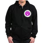 Female Symbol Pink Zip Hoodie (dark)