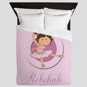 cute personalized pink ballet girl Queen Duvet