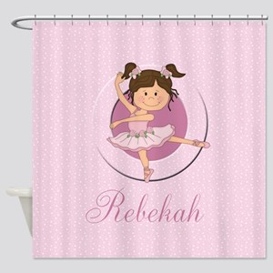 cute personalized pink ballet girl Shower Curtain