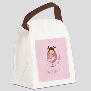cute personalized pink ballet girl Canvas Lunch Ba