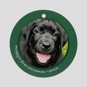 Lab Puppy's 1st Christmas Round Green Ornament