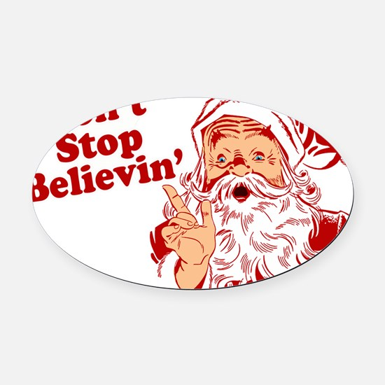 215 Santa Claus believin.png Oval Car Magnet