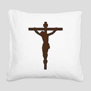 Crucifix_silhouette_brown Square Canvas Pillow