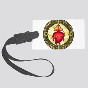 SacredHeart_circle_golden Large Luggage Tag