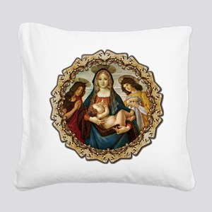 Mary and Baby Jesus Square Canvas Pillow