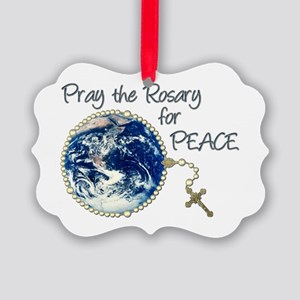 Pray the Rosary for Peace Picture Ornament