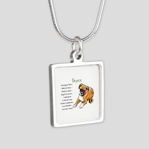 Boxer Puppy Silver Square Necklace