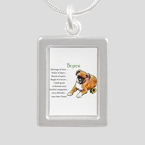 Boxer Puppy Silver Portrait Necklace