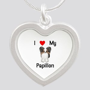 I love my Papillon (picture) Silver Heart Necklace