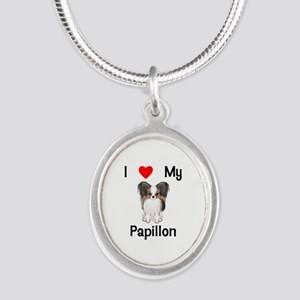I love my Papillon (picture) Silver Oval Necklace