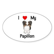 I love my Papillon (picture) Sticker (Oval)