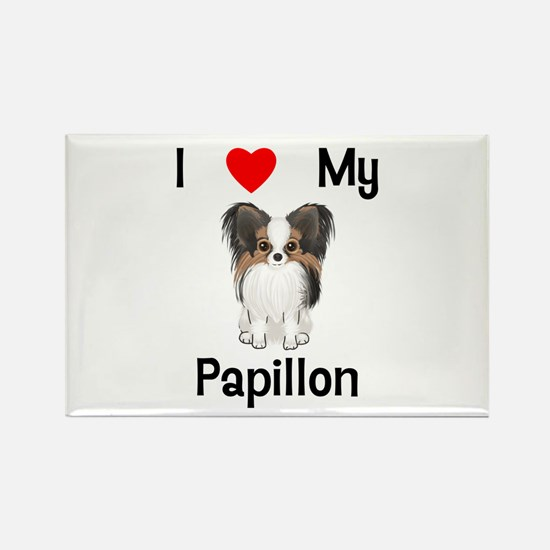 I love my Papillon (picture) Rectangle Magnet (10