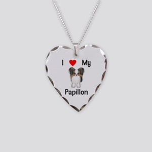 I love my Papillon (picture) Necklace Heart Charm