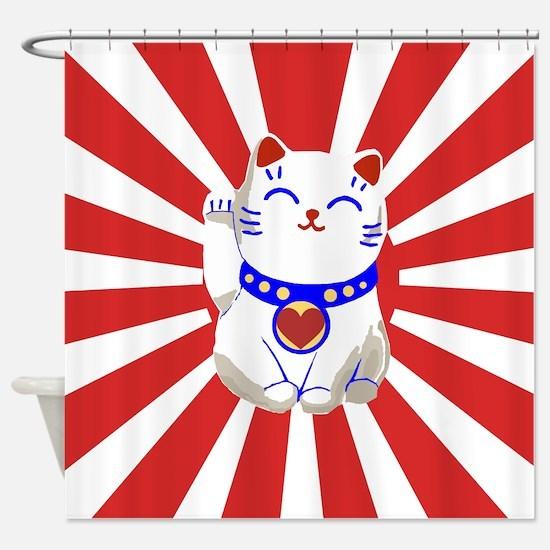 Cute Lucky cute neko cat Red and white Shower Curt