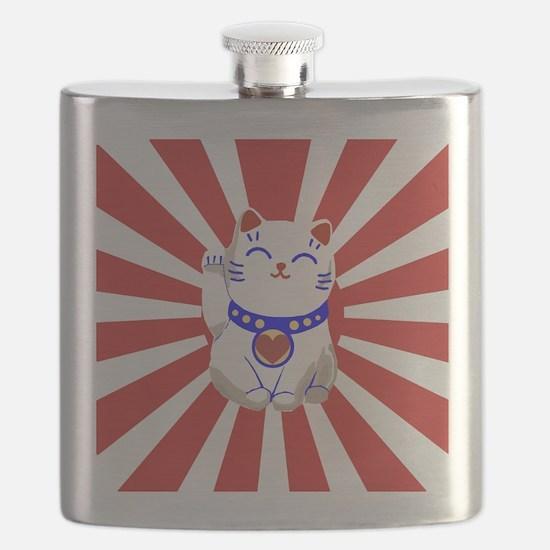 Cute Lucky cute neko cat Red and white Flask