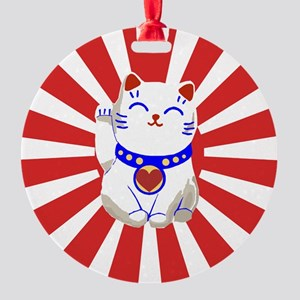 Cute Lucky cute neko cat Red and white Round Ornam