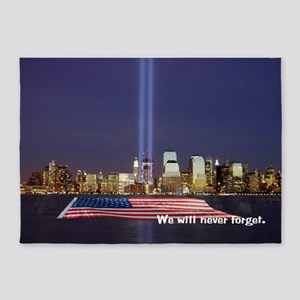9/11 Tribute - Never Forget 5'x7'Area Rug