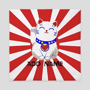 cute personalized lucky Japanese cat Queen Duvet