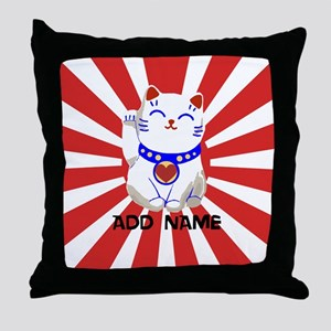 cute personalized lucky Japanese cat Throw Pillow