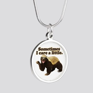 Honey Badger Cares a Little Silver Round Necklace