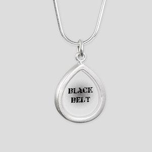 Martial Arts Black Belt Silver Teardrop Necklace