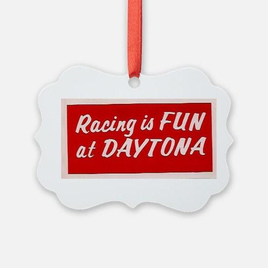 Red Racing Is Fun At Daytona (larger) Ornament