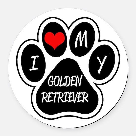 I Love My Golden Retriever Round Car Magnet