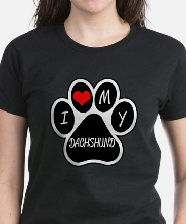 I Love My Dachshund Women's Dark T-Shirt