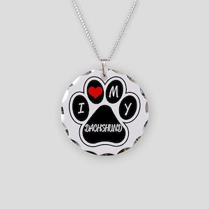 I Love My Dachshund Necklace Circle Charm