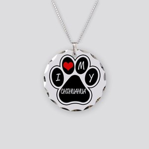 I Love My Chihuahua Necklace Circle Charm