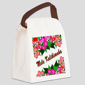 Mele Kalikimaka with flowers Canvas Lunch Bag
